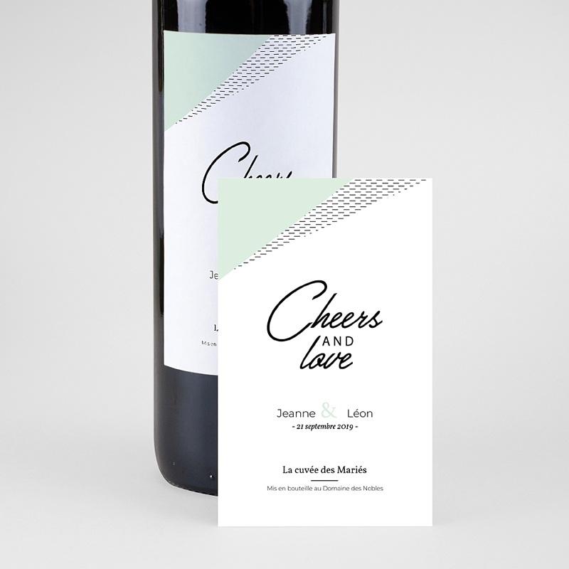 Etiquette Bouteille Mariage Vin Vert & Doré pas cher