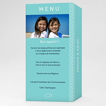 Menu communion Adeline et Sarah