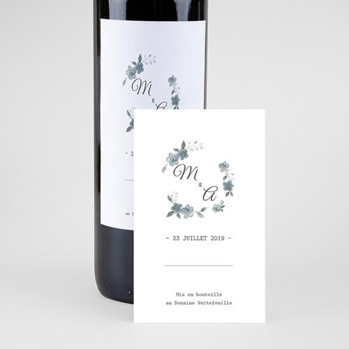 Etiquette bouteille mariage Bleu botanique pas cher