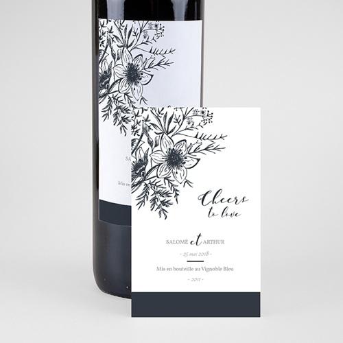 Etiquette bouteille mariage Esquisse Florale pas cher