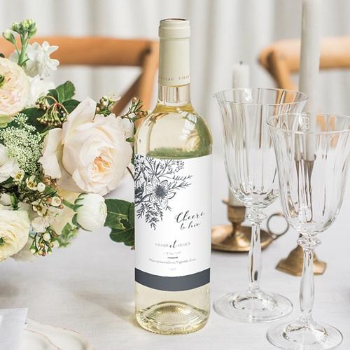 Etiquette bouteille mariage Esquisse Florale