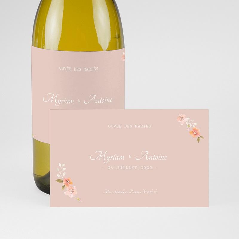 Etiquette Bouteille Mariage Rose Botanique pas cher