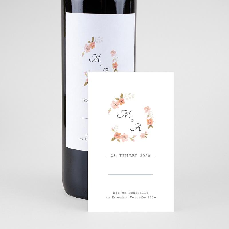 Étiquette bouteille mariage - Rose Botanique 64702 thumb