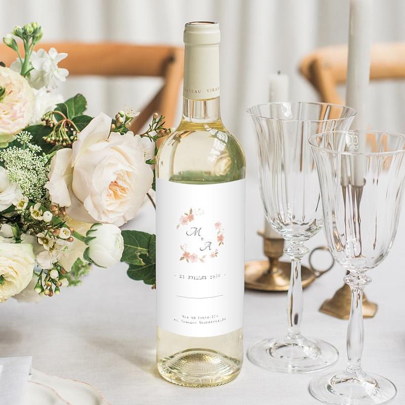 Etiquette Bouteille Mariage Rose Botanique