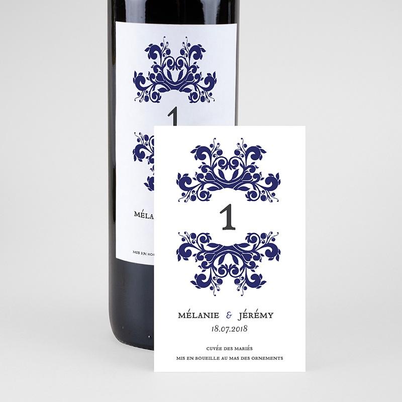 Etiquette Bouteille Mariage Vin Bleu Ottoman pas cher