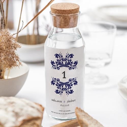 Etiquette Bouteille Mariage Vin Bleu Ottoman gratuit