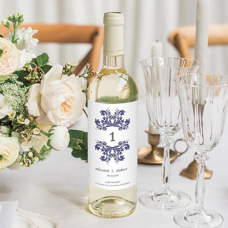 Etiquette Bouteille Mariage Vin Bleu Ottoman
