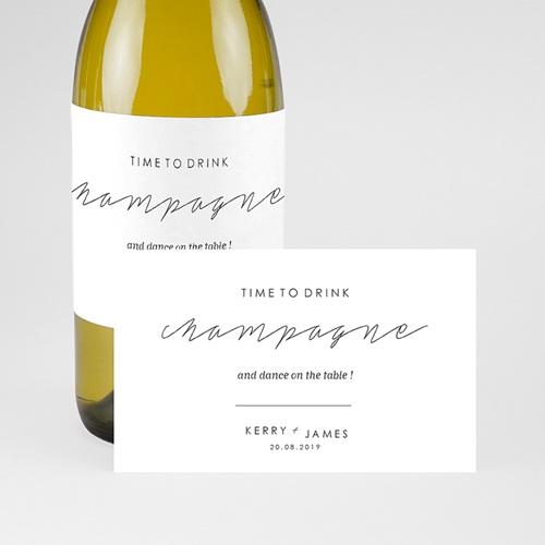 Etiquette bouteille mariage Minimaliste Gris & Blanc pas cher