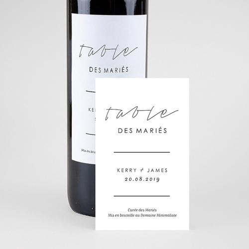 Etiquette Bouteille Mariage Vin Minimaliste Gris & Blanc pas cher