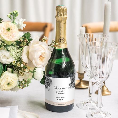 Etiquette Bouteille Mariage Oasis Dorée gratuit