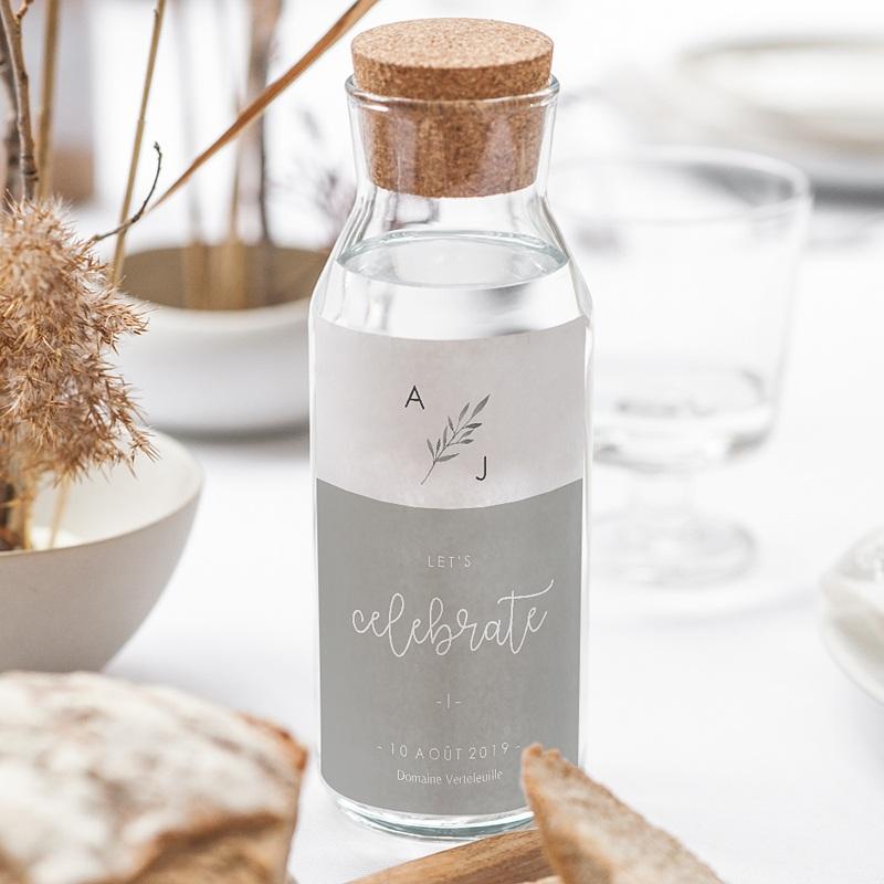Etiquette bouteille mariage Rameaux Aquarelle gratuit
