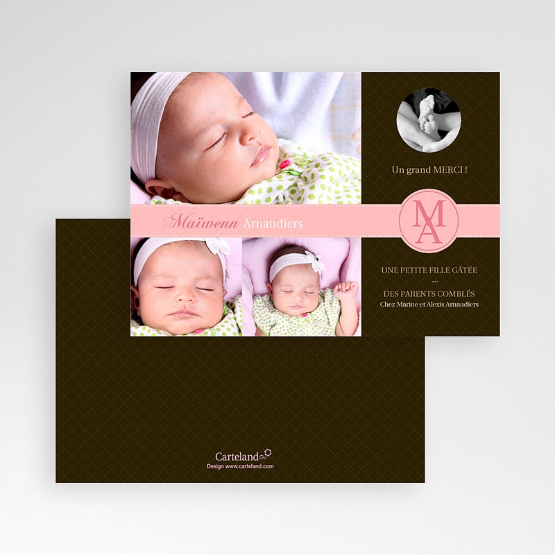 Carte remerciement naissance fille c'était parfait  pas cher