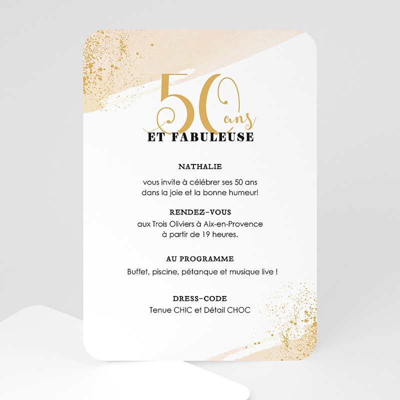 invitation anniversaire 50 ans fabuleuse 50. Black Bedroom Furniture Sets. Home Design Ideas