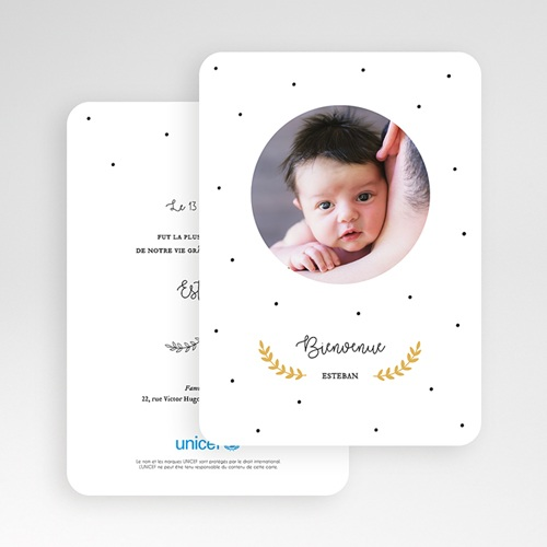 Faire-Part Naissance Garçon UNICEF Laurel gratuit