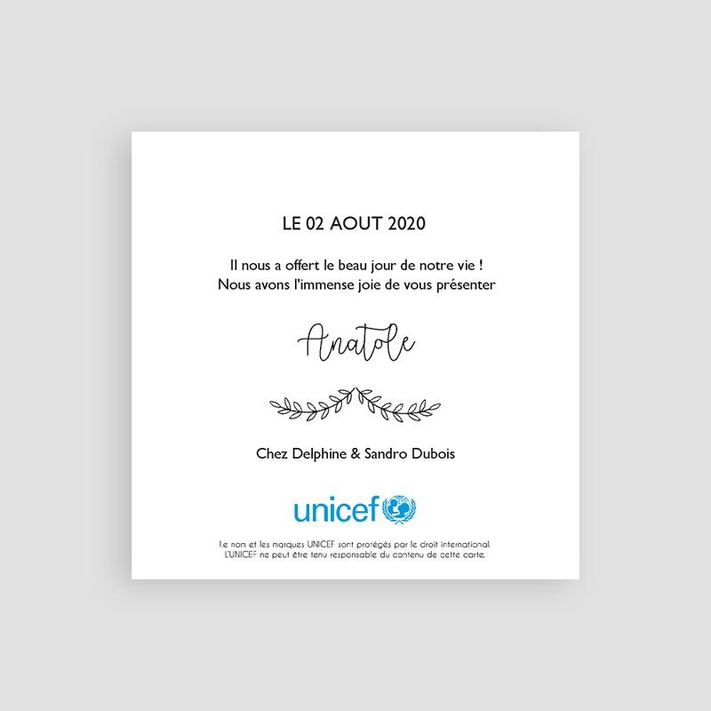 Faire-Part Naissance Garçon UNICEF - Petite photo 65200 thumb