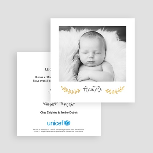 Faire-Part Naissance Garçon UNICEF - Petite photo 65201 thumb