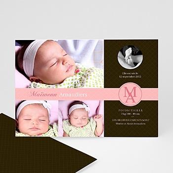 Faire part de naissance fille design parfait - rose fille