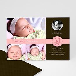 Faire-part naissance fille Design parfait - rose