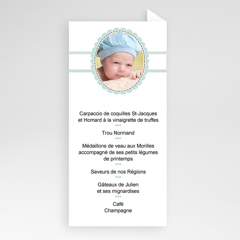 Menu de Baptême - Médaillon Bleu - Garçon 6532 thumb