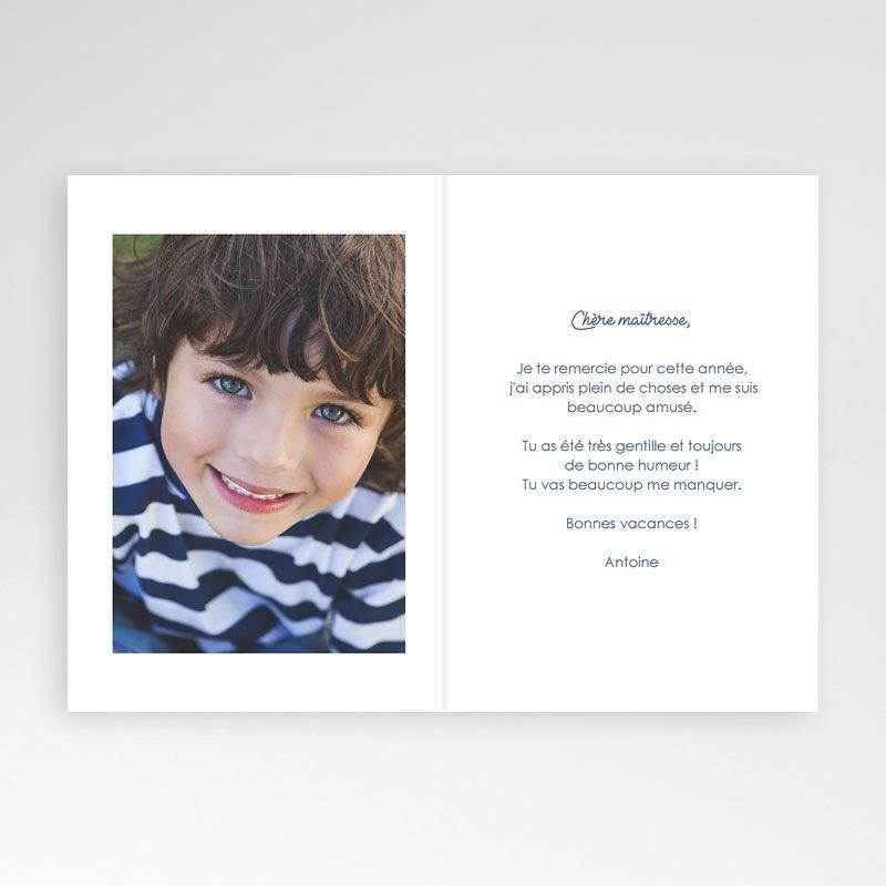 Carte remerciement instituteur Cahier d'écolier Bleu pas cher
