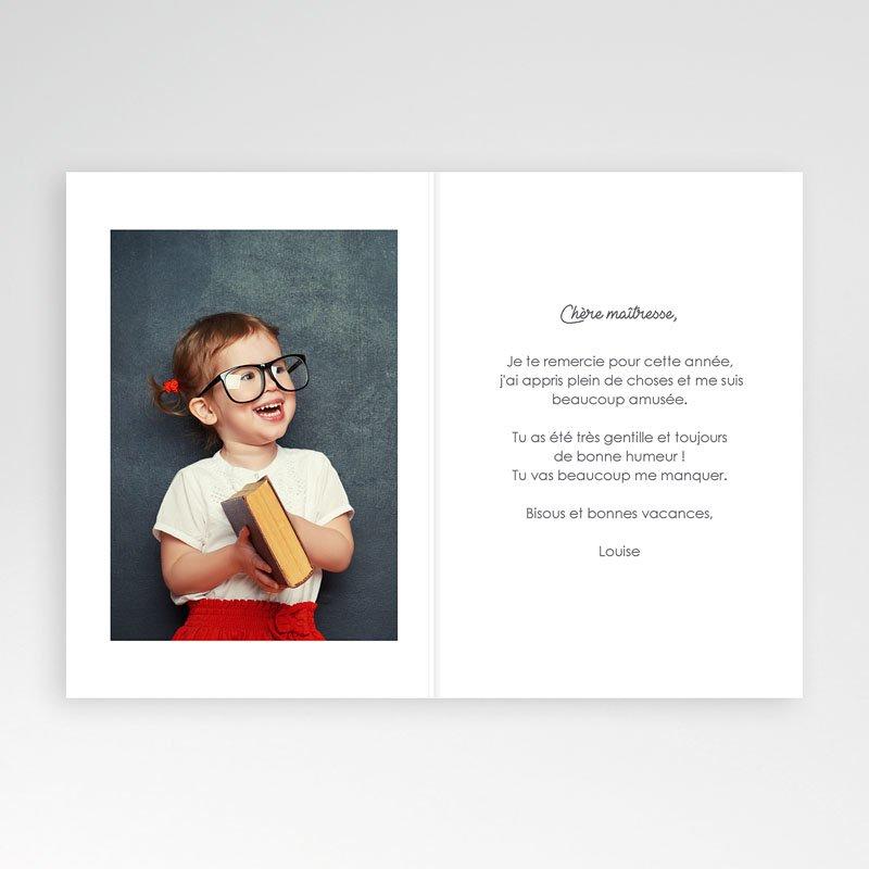Carte remerciement instituteur Cahier d'écolière rose pas cher