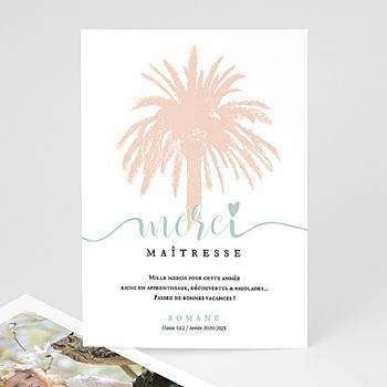 Acheter carte remerciement instituteur palmier rose