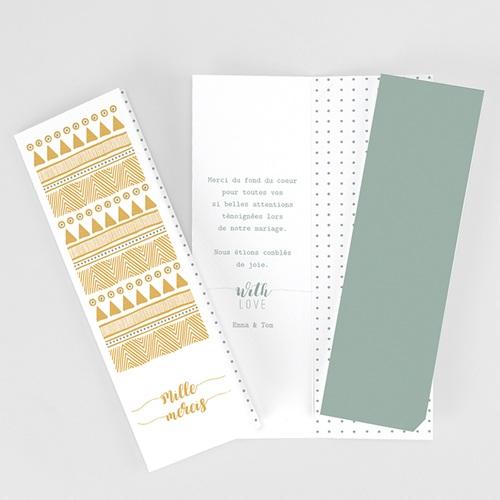 Carte remerciement mariage original Boho Doré