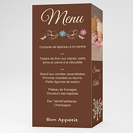 Menu de Baptême Arborescence - Marron