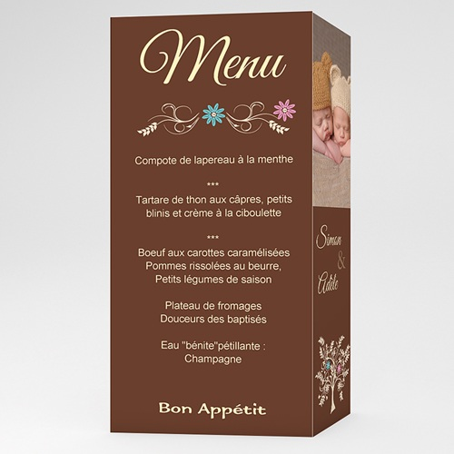 Menu de Baptême - Arborescence - Marron 6547