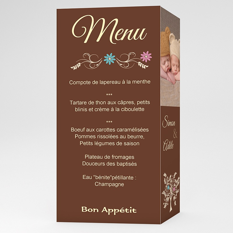 Menu Baptême Arborescence - Marron