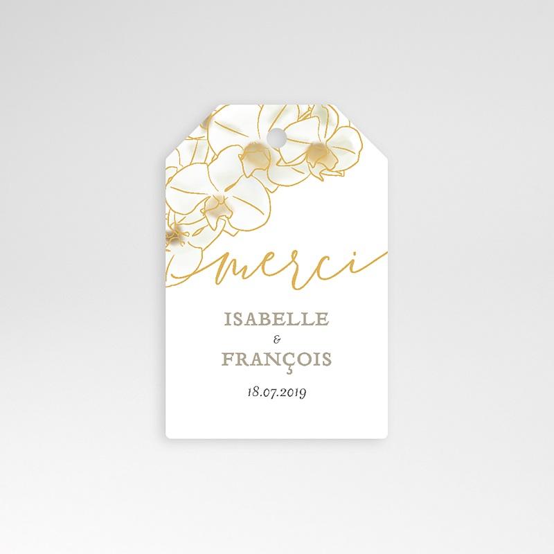 Etiquette Cadeau Mariage Orchidées dorées