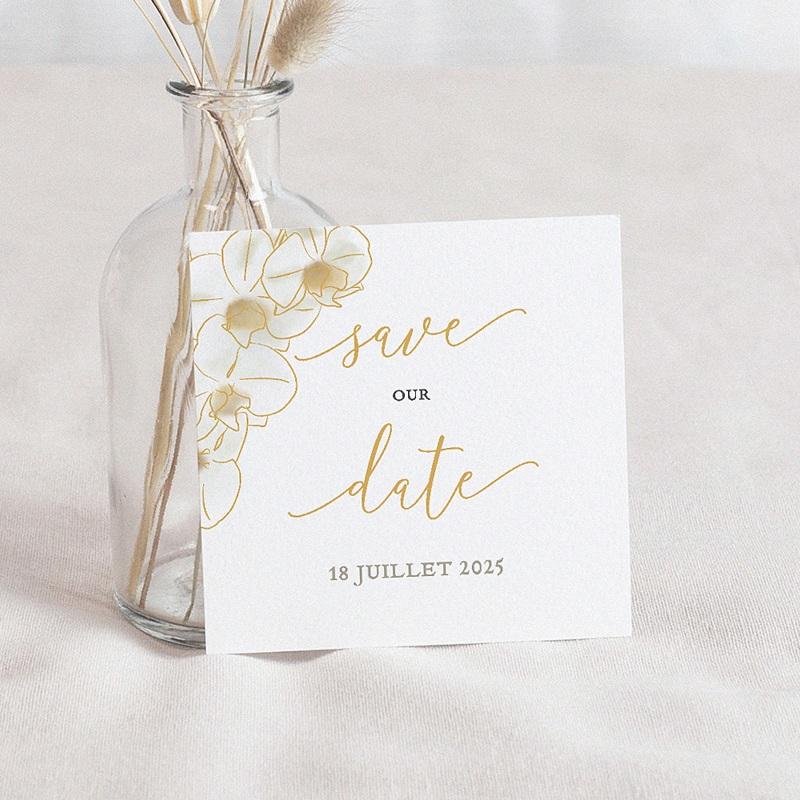 Save The Date Mariage Orchidées dorées, 10 x 10
