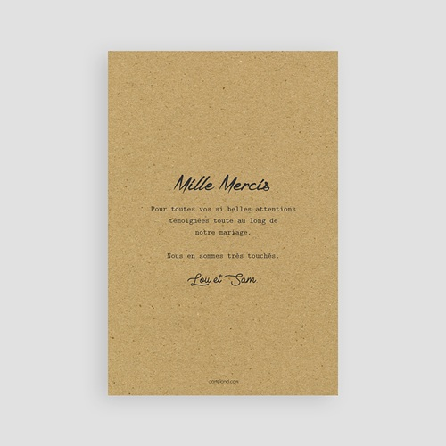 Carte Remerciements Mariage Love pas cher