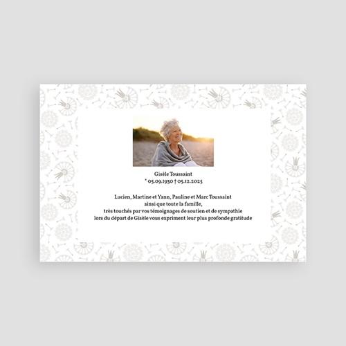 Carte Remerciement Décès Universel Dandelion gris pas cher