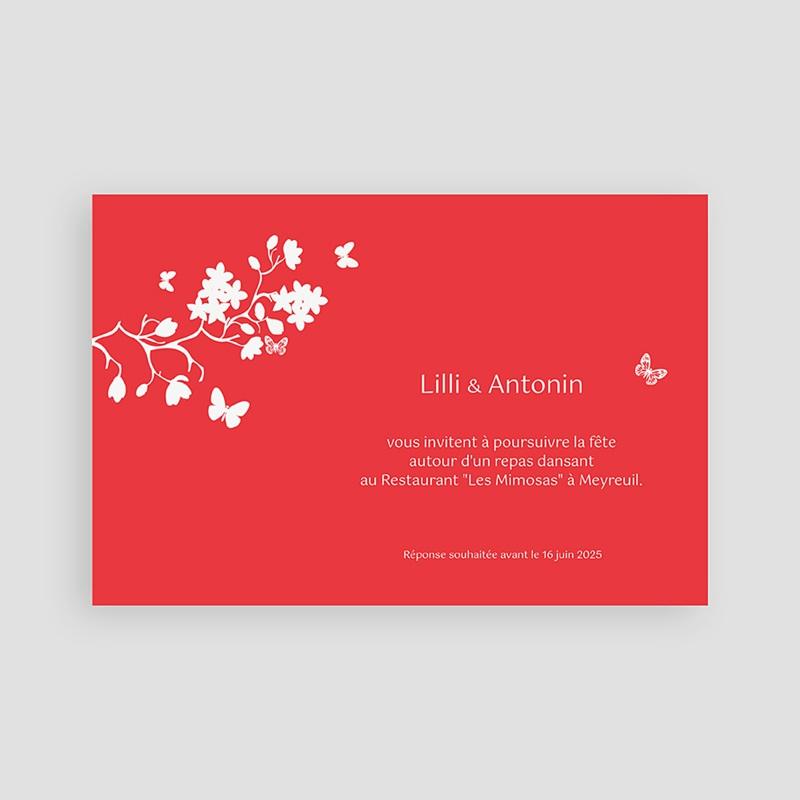 Carton Invitation Personnalisé Fleurs d'amour - Rouge pas cher