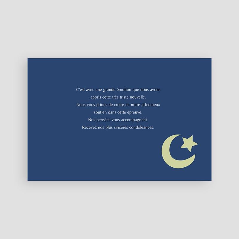 Carte Remerciement Décès Musulman Dhakkir bleu nuit pas cher