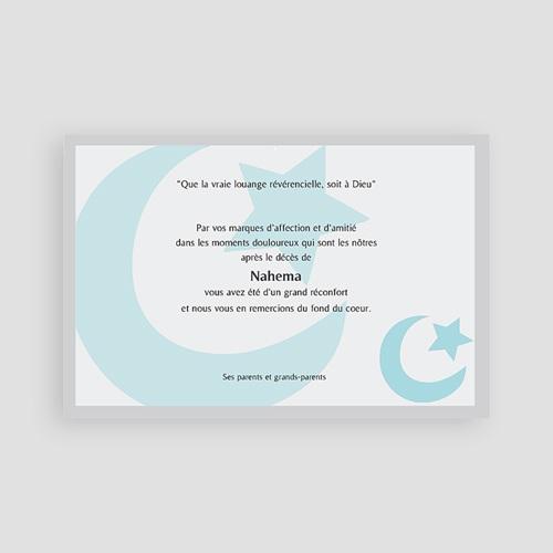 Carte Remerciement Décès Musulman Tadhakkara Croissant bleu pas cher