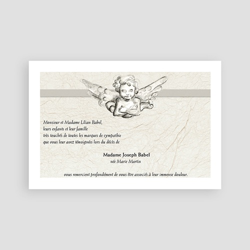 Cartes Remerciements Décès - Ange gardien  65809 thumb