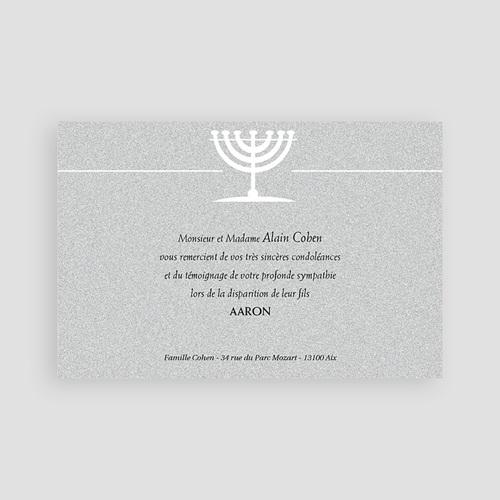 Carte Remerciement Décès Juif Menorah du Temple pas cher