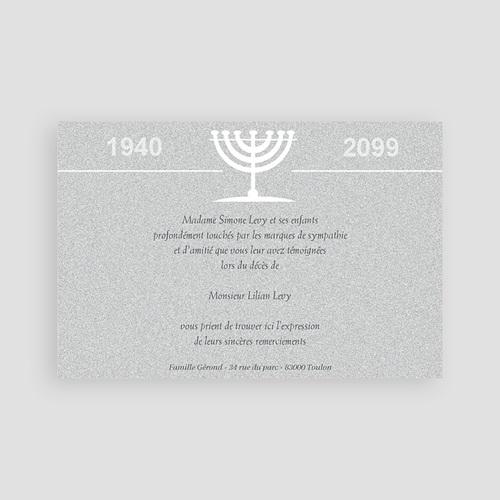Carte remerciement décès juif Triste menorah pas cher