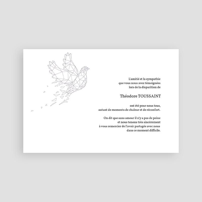 Carte Remerciement Décès Universel Colombe - Paix éternelle pas cher