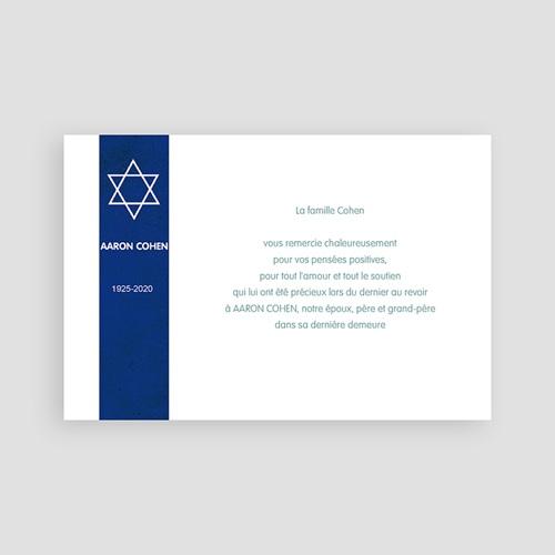 Carte remerciement décès juif Etoile tekhélèth pas cher