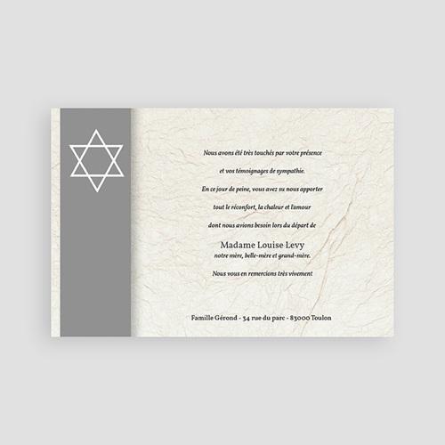 Carte Remerciement Décès Juif Magen David - Bandeau Gris pas cher