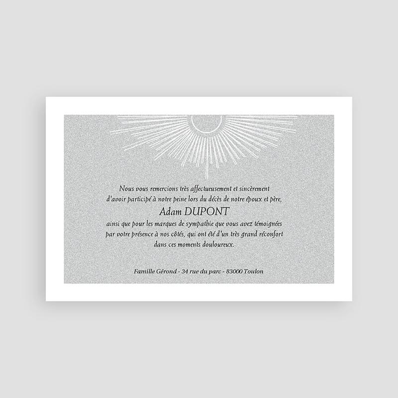 Carte Remerciement Décès Triste aurore grise pas cher