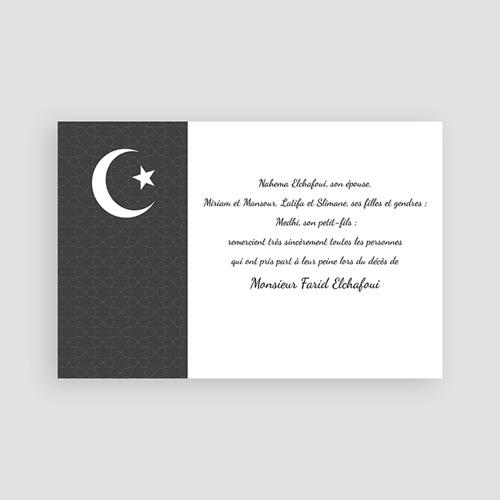 Carte remerciement décès musulman Croissant de lumière - 2 pas cher