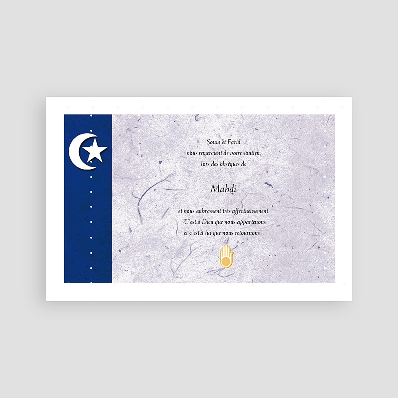 Remerciements Décès Musulman - Hilal Bleue 65833 thumb