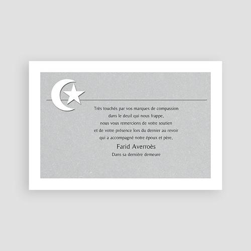 Carte Remerciement Décès Musulman Foi musulmane, Croissant & étoile pas cher
