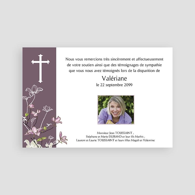 Carte Remerciement Décès Chrétien Croix et bandeau Violet pas cher