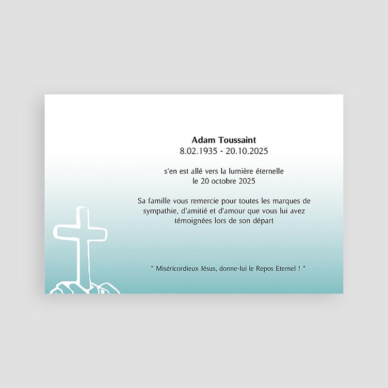 Carte remerciement décès chrétien Voeux d'immortalité  pas cher