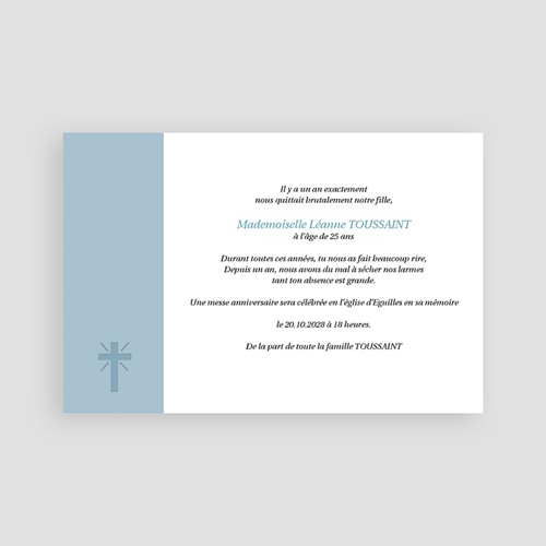 Carte remerciement décès chrétien Aux Cieux - hommage posthume pas cher